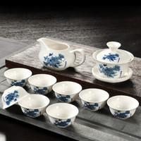 移动专享 : 万庆兴 陶瓷功夫茶具套装 蓝牡丹 12件装
