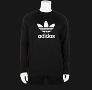 adidas Originals 男士运动卫衣 aditrefoilcrewneck 黑色 S