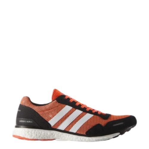 adidas 阿迪达斯 adizero adios 3 男士跑鞋 AF6554 橘红/黑/白 39.5