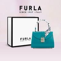 FURLA/芙拉2020限定套组 1927 OPERA迷你手提包+精美丝巾礼盒套组 翡翠绿色+丝巾颜色随机