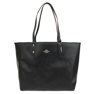 蔻驰(COACH) 奢侈品 女士大号托特包子母包单肩手提包深棕色PVC配皮 36658 IMAA8