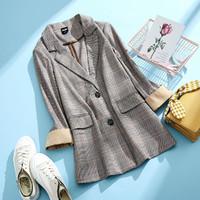 拉夏贝尔旗下女式西装外套2020秋季新款韩版英伦风复古西服开衫