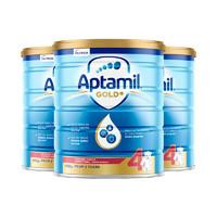 Aptamil新西兰爱他美 金装婴儿配方奶粉 4段 900克 2岁以上3罐