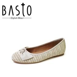 BASTO 百思图 RB734AQ0 女士编织平底芭蕾单鞋 *7件