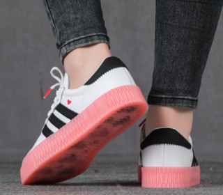 adidas Originals Sambarose 女士运动板鞋 EF4965 亮白/一号黑色/休克红 36
