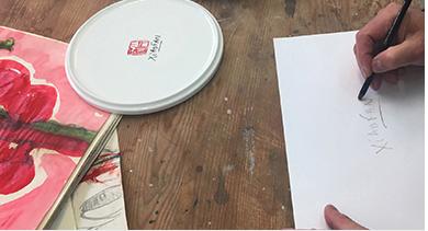 艾米李畫廊 茹小凡艺术家 百花系列衍生9寸骨瓷盘 A1