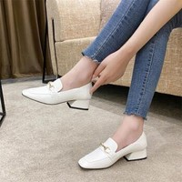 洛兰蒂芬 色软羊皮英伦风小皮鞋韩版 白色 34