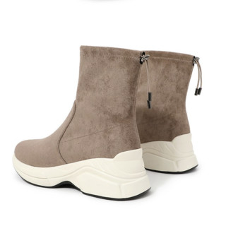 BeLLE 百丽 女士皮革弹力布单里圆头套脚厚底中筒靴U5E1DDZ9