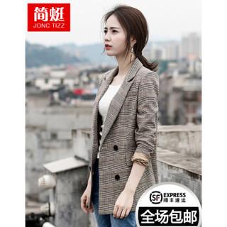 格子小西装女2020秋冬季新款外套女士休闲复古chic格纹中长款西装上衣 咖啡格6015 M