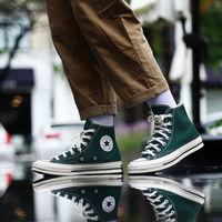 Converse匡威1970S男女款复古三星标丛林墨绿色高帮帆布鞋168508C