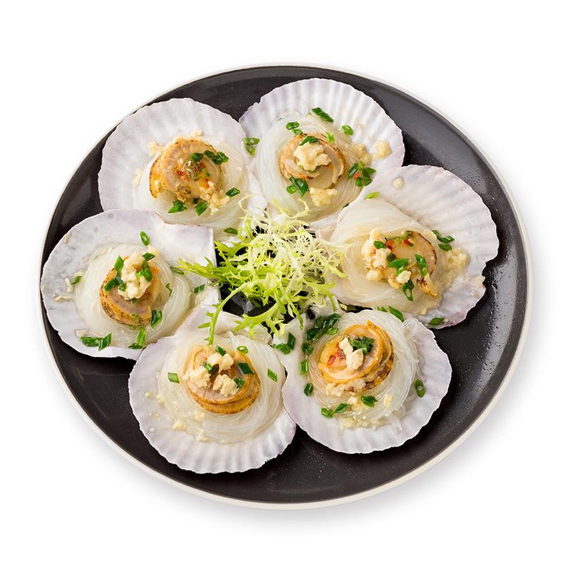百年渔港蒜蓉粉丝扇贝 贝类日料海鲜水产6枚 200g *10件