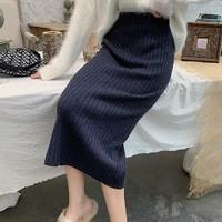 歌索洛 针织半身裙 高腰 55cm
