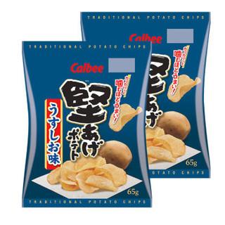 Calbee/卡乐比 日本进口零食 坚脆薯片淡盐味65g*2 *7件