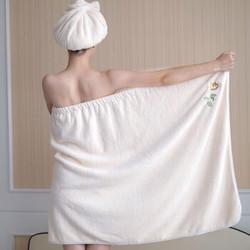 浴巾女性感可穿抹胸浴裙比纯棉柔软吸水不掉毛美容院加厚成人浴袍 珊瑚粉 干发帽+束发带(2件套)