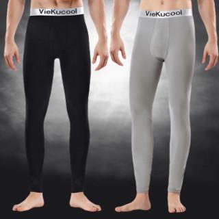 VIEKUCOOL 秋裤男士单件保暖打底裤 不加绒 黑色1条装