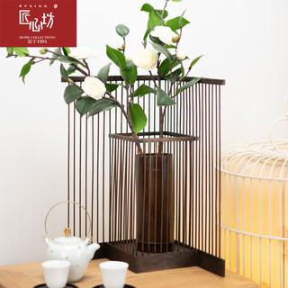 匠心坊新中式茶室装饰摆件竹花瓶客厅电视机柜装饰摆设