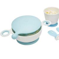 gb 好孩子 儿童吸盘碗+水杯+勺+叉 4件套装 蓝色+凑单品