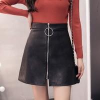 语凝 Y-0062 女士修身显瘦半身皮裙