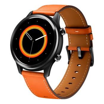 vivo WATCH系列 WA2056 智能手表 42mm 不锈钢 皮革表带 秘夏橙(血氧、GPS、北斗)