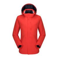 龙狮戴尔 户外冲锋衣冬男女三合一两件套羽绒内胆情侣防水透气夹克 大红-女 L *2件