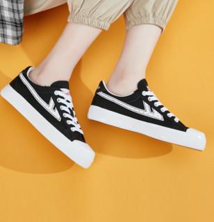 WARRIOR 回力 中性运动帆布鞋 WXY-A106T 黑白 36