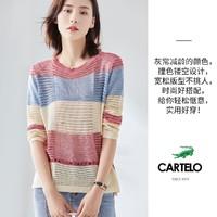 2020秋季新款时尚减龄百搭宽松镂空舒适撞色圆领长袖针织衫女