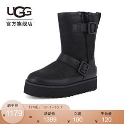 UGG 冬季女士潮酷百搭短靴雪地靴松糕机车靴1103852 BLK | 黑色 36