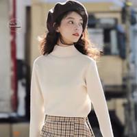 奢依君(SHEYIJUN)2020年秋冬新款女装半高领套头毛衣长袖针织打底衫修身百搭上衣女 杏色 XS 80斤以下