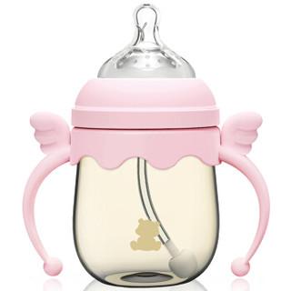 小白熊 宽口径PPSU吸管奶瓶 160ml 粉色09387 *2件