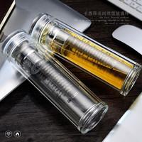 京东PLUS会员 : kaxifei 卡西菲 双层玻璃杯水杯 全透直杯 380ml *6件