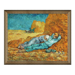 梵高人物风景油画《午休》背景墙装饰画挂画 典雅栗(偏金色) 90*73cm