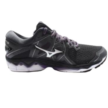 Mizuno 美津浓 Wave Sky 2 女士跑鞋 J1GD180246 黑/银/紫 36.5