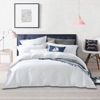 京东PLUS会员:源生活 四件套 60支精梳纯棉素色床品套件 纯色床单被套 纯白色1.5米床(200*230cm)
