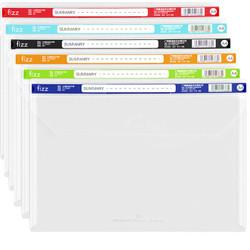 飞兹(fizz)透明文件袋6只装/A4加厚插扣款/档案袋带索引条/试卷资料袋 FZ103007