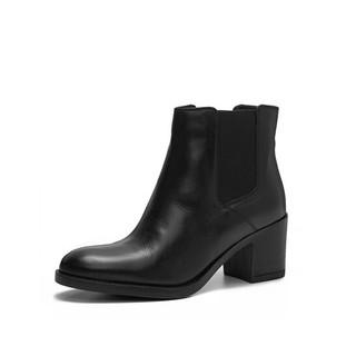 Clarks 其乐 Mascarpone Bay系列女士皮质复古粗高跟短靴261352504 黑色37