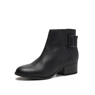 Clarks 其乐 Elvina Dream系列女士皮带扣粗跟短靴261351584 黑色36