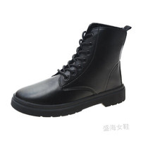 HUIZHI/绘志 马丁靴女2020新款 黑色