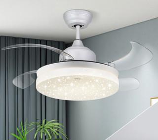 OPPLE欧普隐形扇客厅餐厅吊灯卧室家用简约现代电扇灯具 风扇灯 玉风S-白