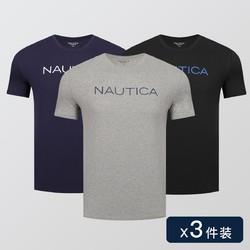 NAUTICA 诺帝卡 NTNS021417Z06 男士短袖上衣 3件装
