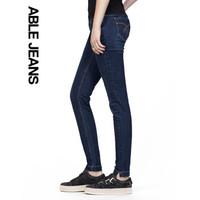 ABLE JEANS深色牛仔裤女新款修身小脚弹力显瘦铅笔裤九分裤 蓝牛暗色 165/26