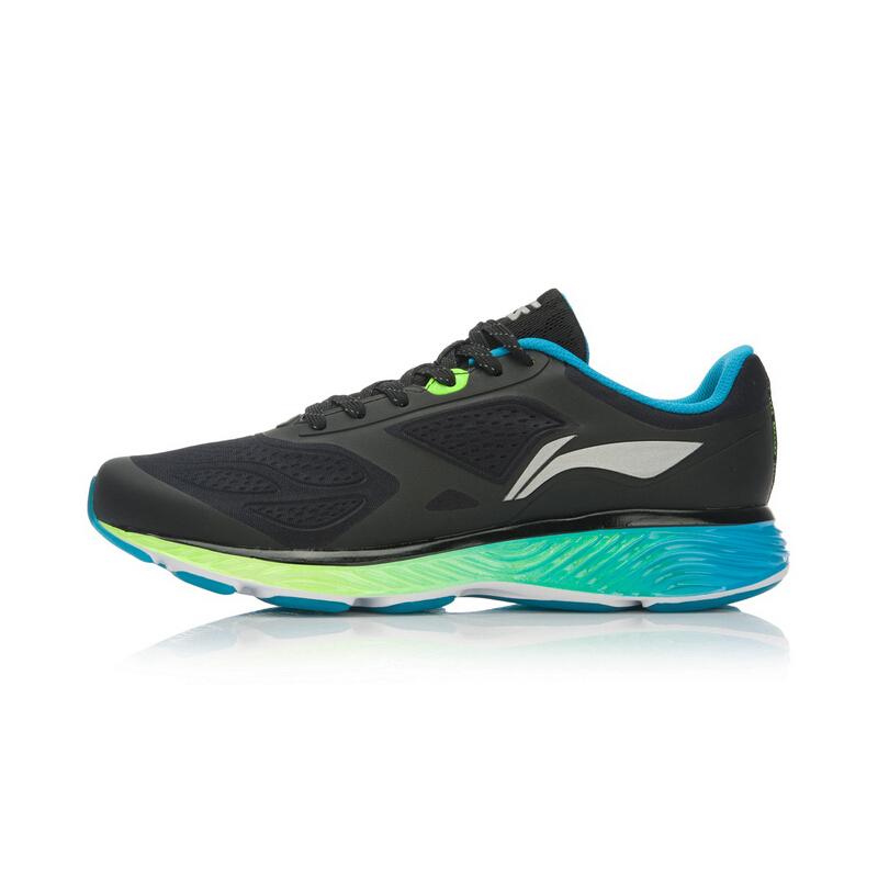 LI-NING 李宁 云三代 男士跑鞋 ARHL037 黑/荧光嫩绿/亮光蓝  39.5