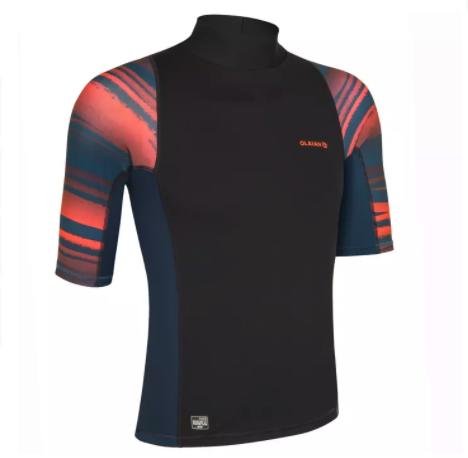 DECATHLON 迪卡侬 500系列 NEON PRINT 男士运动T恤 170637 黑色/荧光橘/碳灰色 S