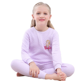 Barbie 芭比 儿童夹棉保暖家居服套装 CB9801 豆绿色 140cm