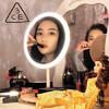 3CE 高清日光智能led化妆镜子带灯礼盒圣诞节情人节礼物送女生女朋友结婚纪念日生日礼物-奶茶美妆镜