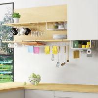 免打孔304不锈钢收纳架厨房吊柜悬挂置物架 橱柜下挂架壁挂篮挂钩