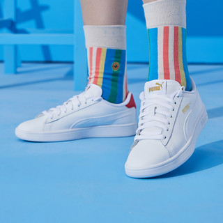 PUMA 彪马 Suede Platform Rihana 中性休闲运动鞋 36521517 彪马白/鲜红色/金色 44.5