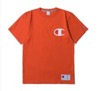 Champion 男士纯棉Logo印花圆领短袖T恤 桔色S