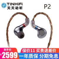 天天动听 Tinhifi P2平板单元耳机入耳式有线HiFi降噪MMCX可换线金属音乐耳塞 银灰色 标配