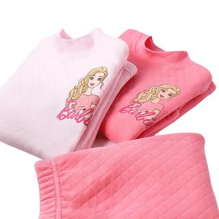 Barbie 芭比 女童加绒保暖内衣套装 78007 粉色 130cm