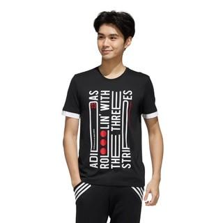 adidas NEO M CS VERBIAGE T 男士运动T恤 EI4530 黑色/浅星红 M